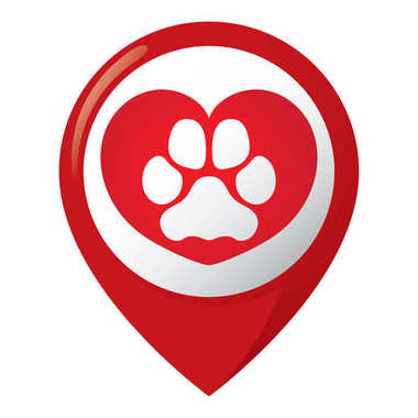 Icon representing location with dog paw dog with heart. Ideal for visual communication, veterinary information and institutional material