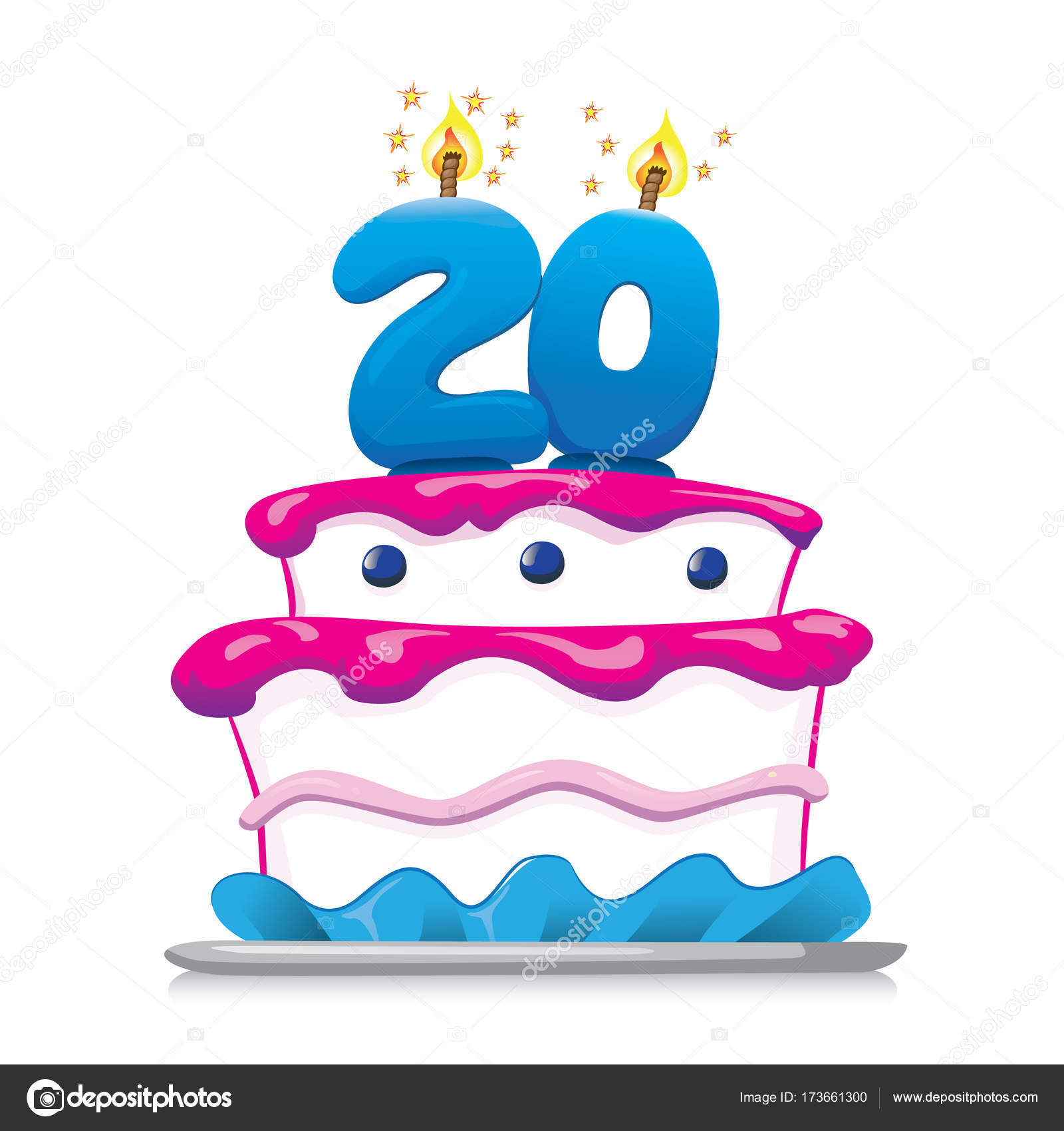 Illustration Of Sweet Food Birthday Cake 20 Years Ideal For Commemorative And Institutional Information