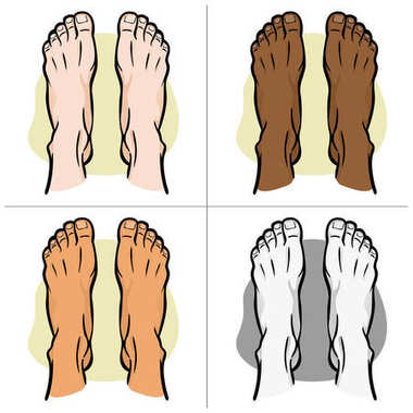 Illustration person, pair of human feet, ethnic, top view. Ideal for catalogs, informational and institutional guides