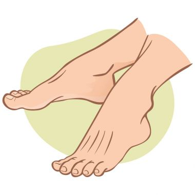 Illustration person, pair of human feet, caucasian, side view. Ideal for catalogs, informational and institutional guides