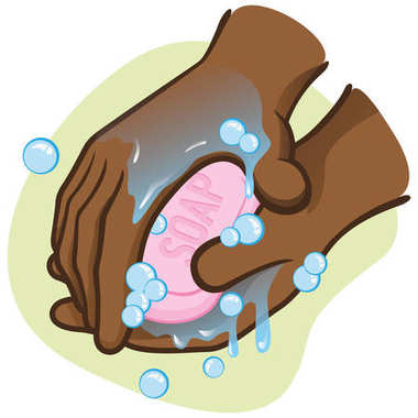 Illustration of a person washing hands with soap and water, afro descent. Ideal for training, informational and institutional material catalogs