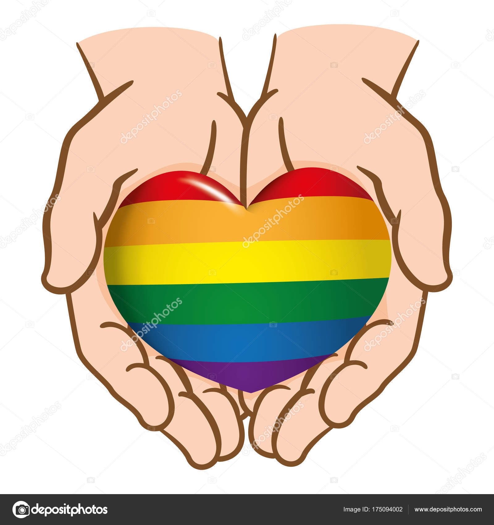 Dibujo Las Manos Juntos Entregar Corazón Lgbt Gay Caucásica Ideal ...