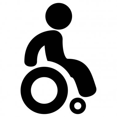 Icon pictogram wheelchair physical deficient. Ideal for catalogs, informational and institutional material