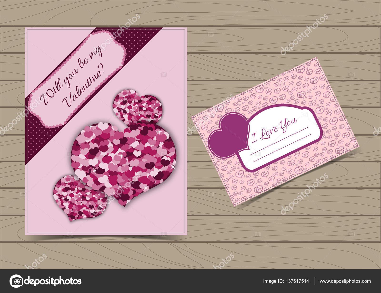 Kollektion rosa Valentine Karte und Postkarte Vorlagen — Stockvektor ...