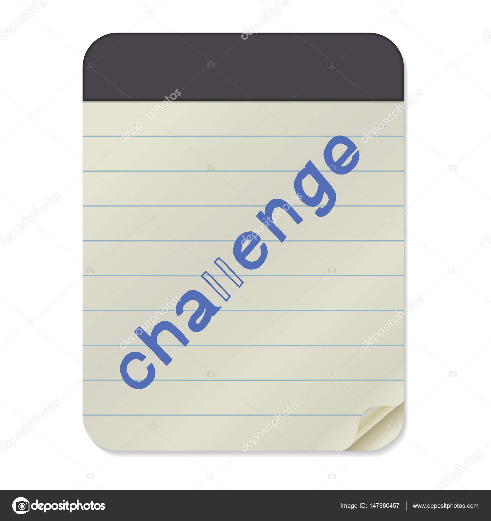 Herausforderung-Schriftzug auf Notebook-Vorlage — Stockvektor ...