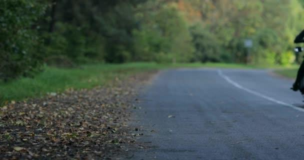 4 k žena Motorkářská Jízda motocyklu zpět podzimní zastavovali lesní silnice a zase večer. Ženské motocyklista dívka jednotky pryč prázdné místní příroda asfalt stojan zaměření na motorce. Svoboda rebel životní styl