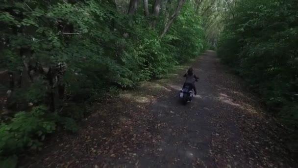 Žena motorkář jede motorka na lesní silnici podzimní zpomalené zadní pohled přes anténu z výše. Nahoru shot důvěru k nepoznání dívky motocykl jezdce hnací kolo myslel tmavě zelenými stromy