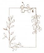 Ilustrace rostlinné větve ve formě barevného květního rámu listí, obdélníkového tvaru na izolovaném bílém pozadí