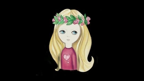 Gyors animáció a lány hosszú haj virágkoszorú alatt akvarell a háttérben