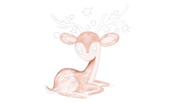 Digitális illusztráció állati szarvas alatt akvarell fehér elszigetelt újévi és karácsonyi stílusban
