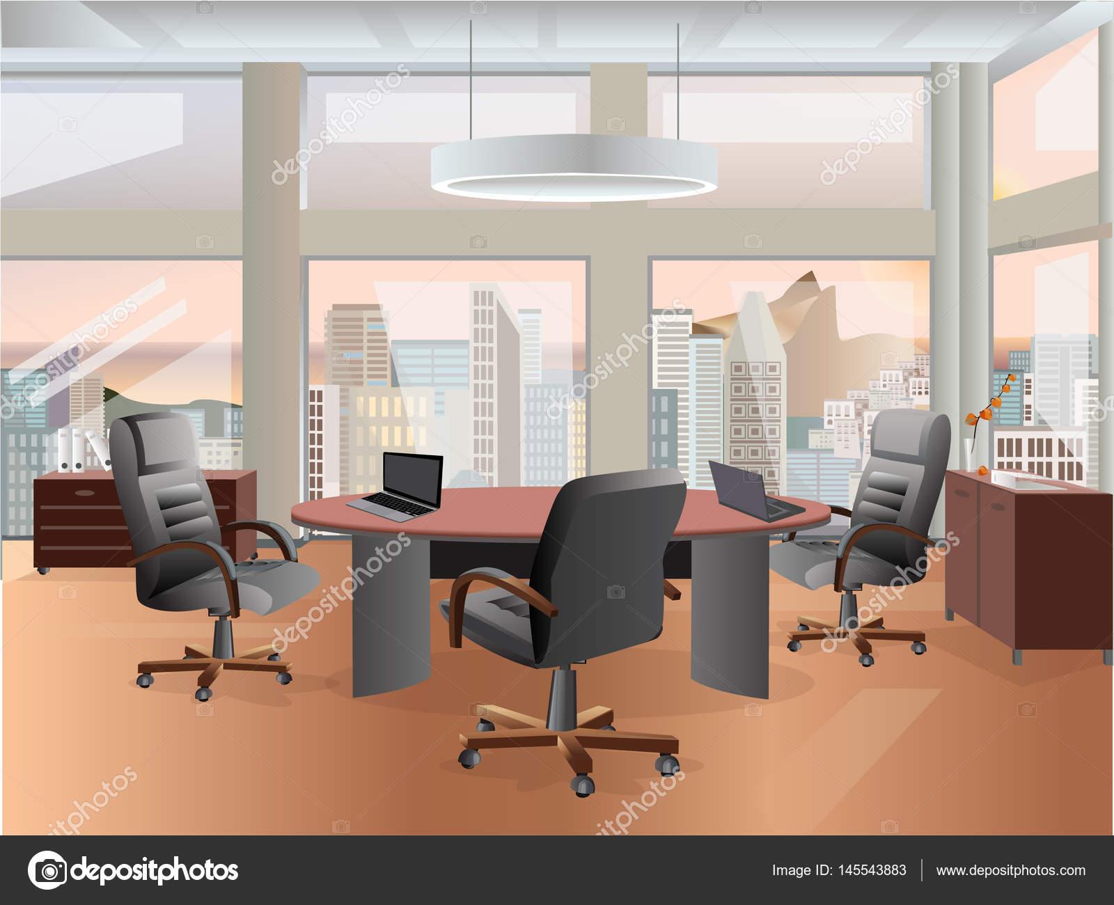 Büro-Arbeitsplatz-Innenarchitektur. Flache Konzept Abbildung ...