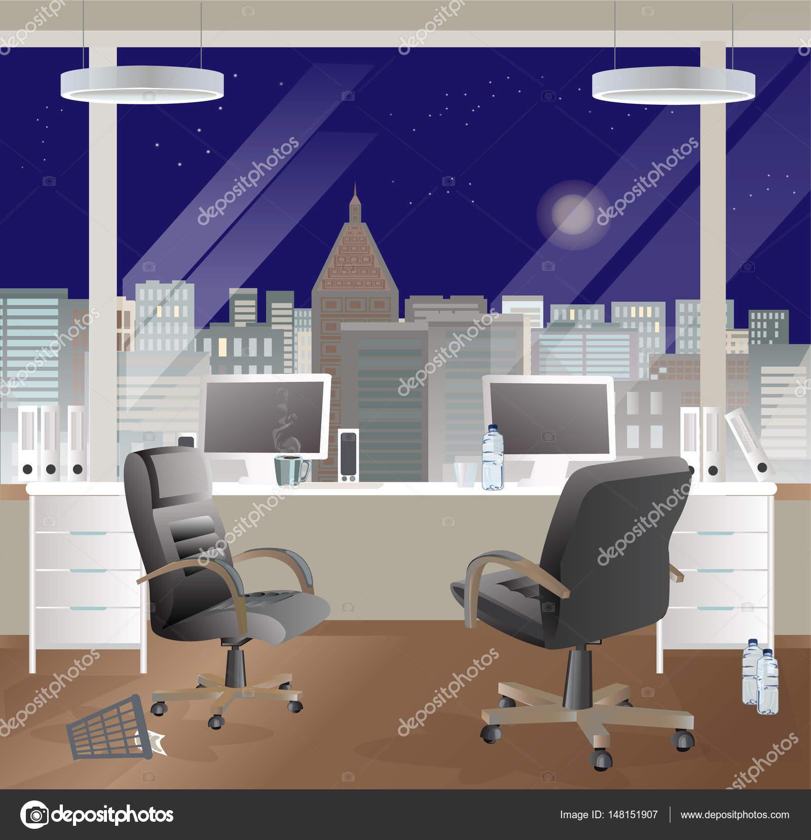 Büro-Arbeitsplatz-Innenarchitektur. Business-Objekte, Elemente ...