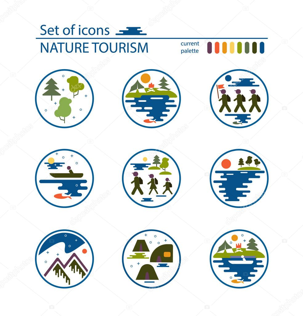 Layout of tourist booklet or advertisement. Images of tourists, forest, mountains, lake, fishing, wild animals. Ecological tourism