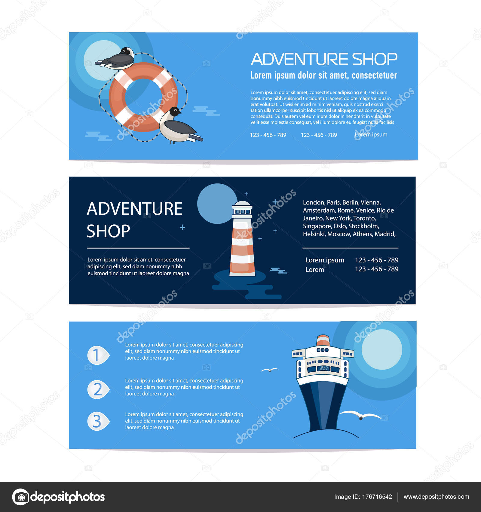 banner flyer template selling journey marine trip advertising