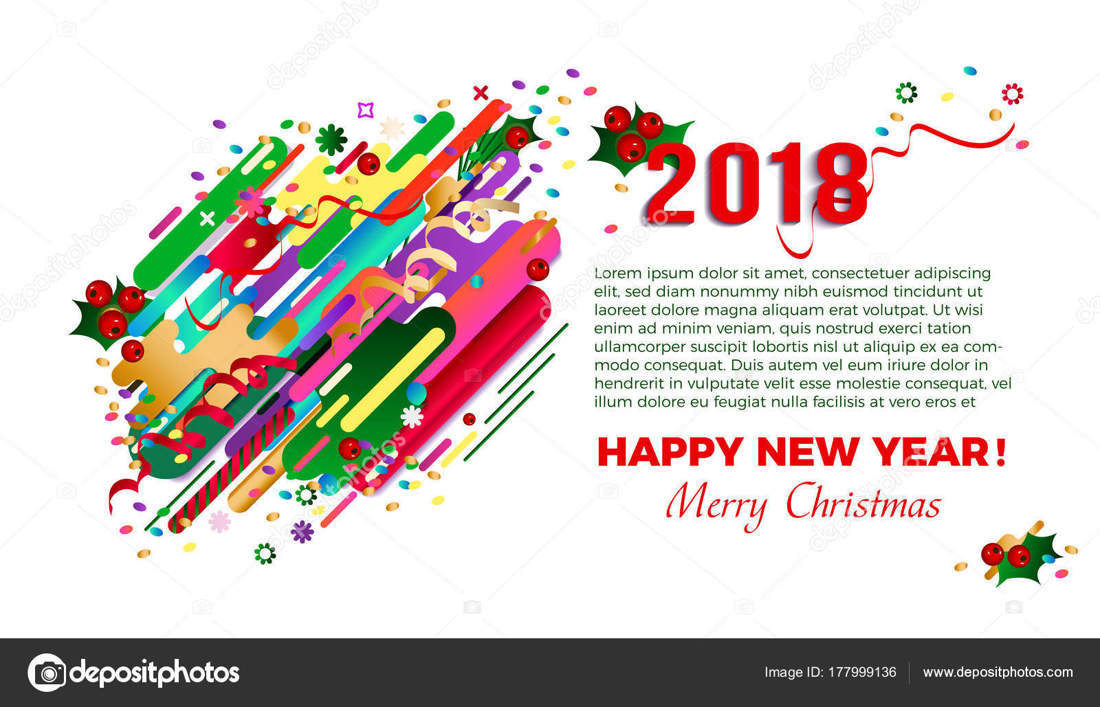 2018 Happy New Year Greeting Card Card Design Poster Original