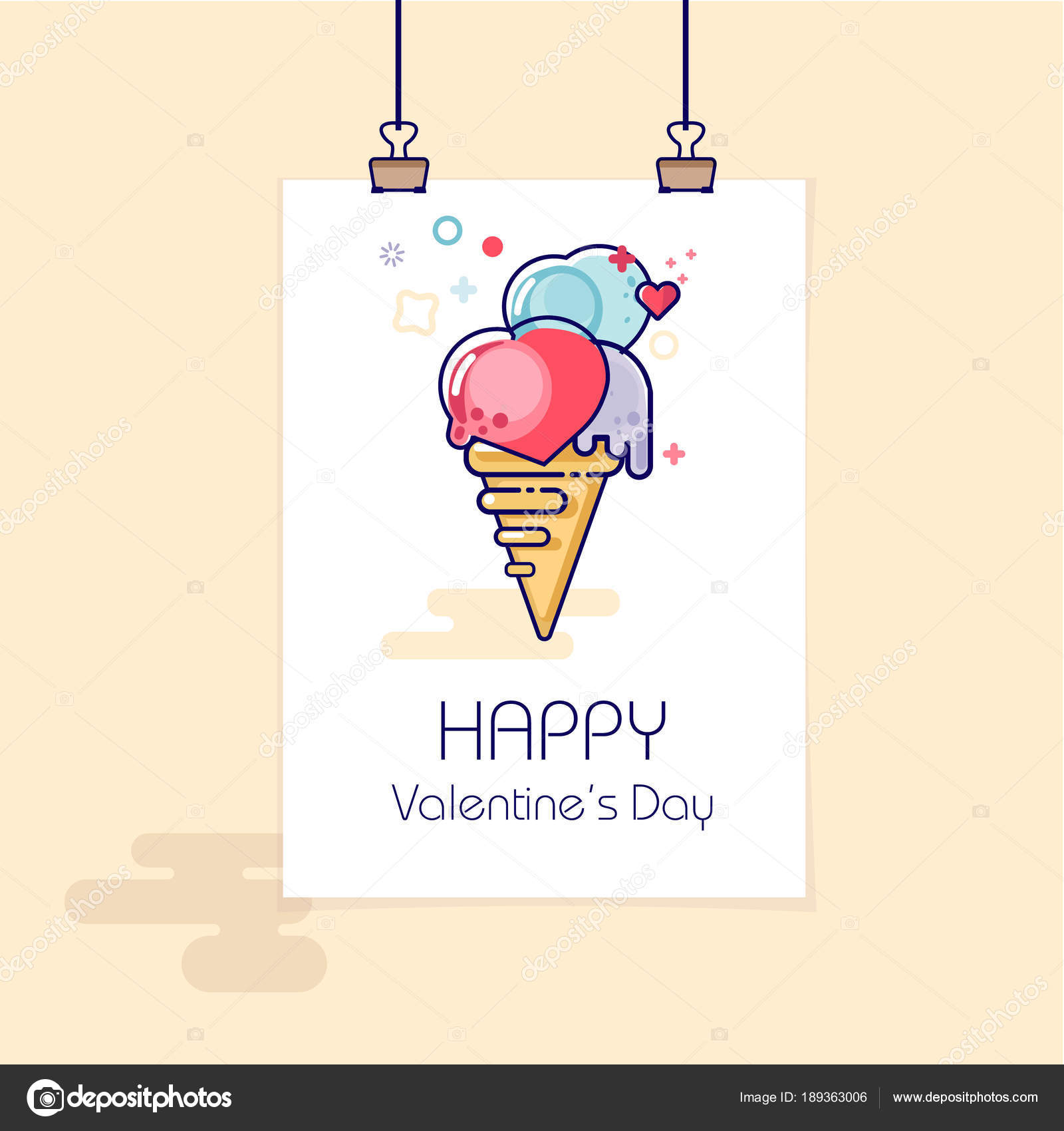 Congratulation Valentine Day Banner Poster Ice Cream Waffle Cup