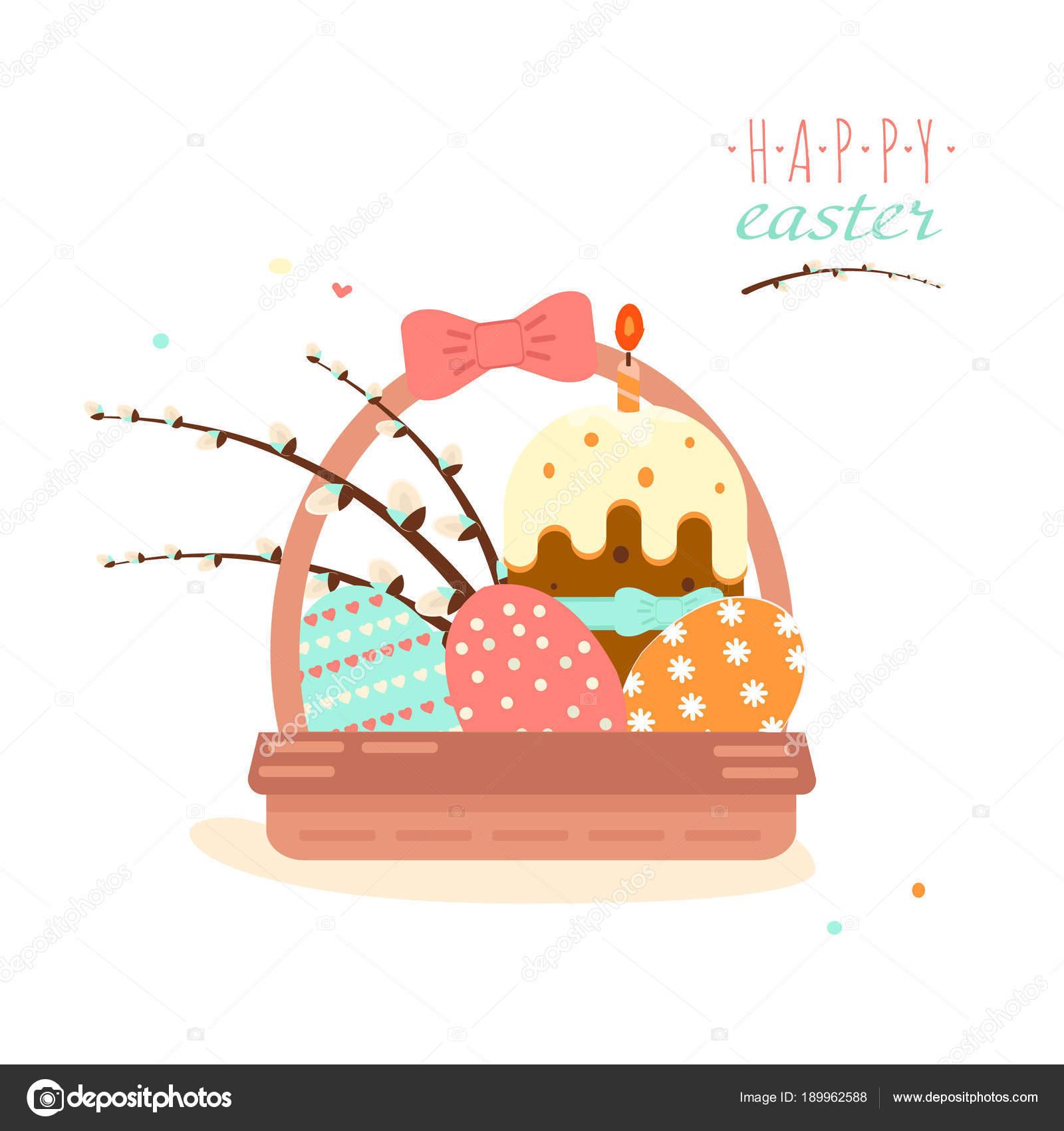 Bunte Süße Frohe Ostern Grußkarte Vektor Bild Von Ostern Symbolen