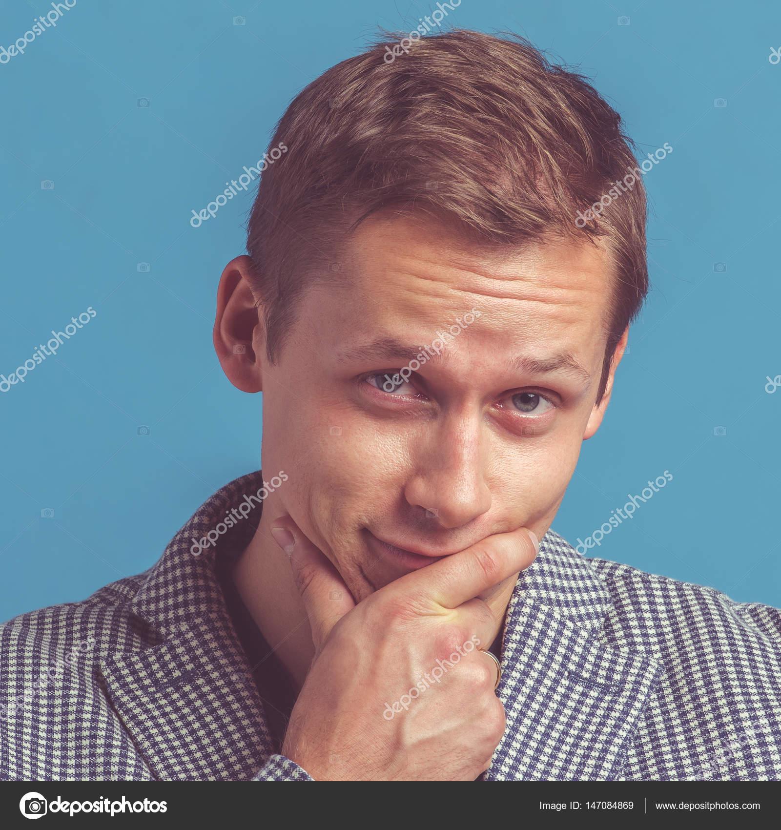 Portrait Von Junge Schöne Männer Mit Emotionalen Gesicht Stockfoto