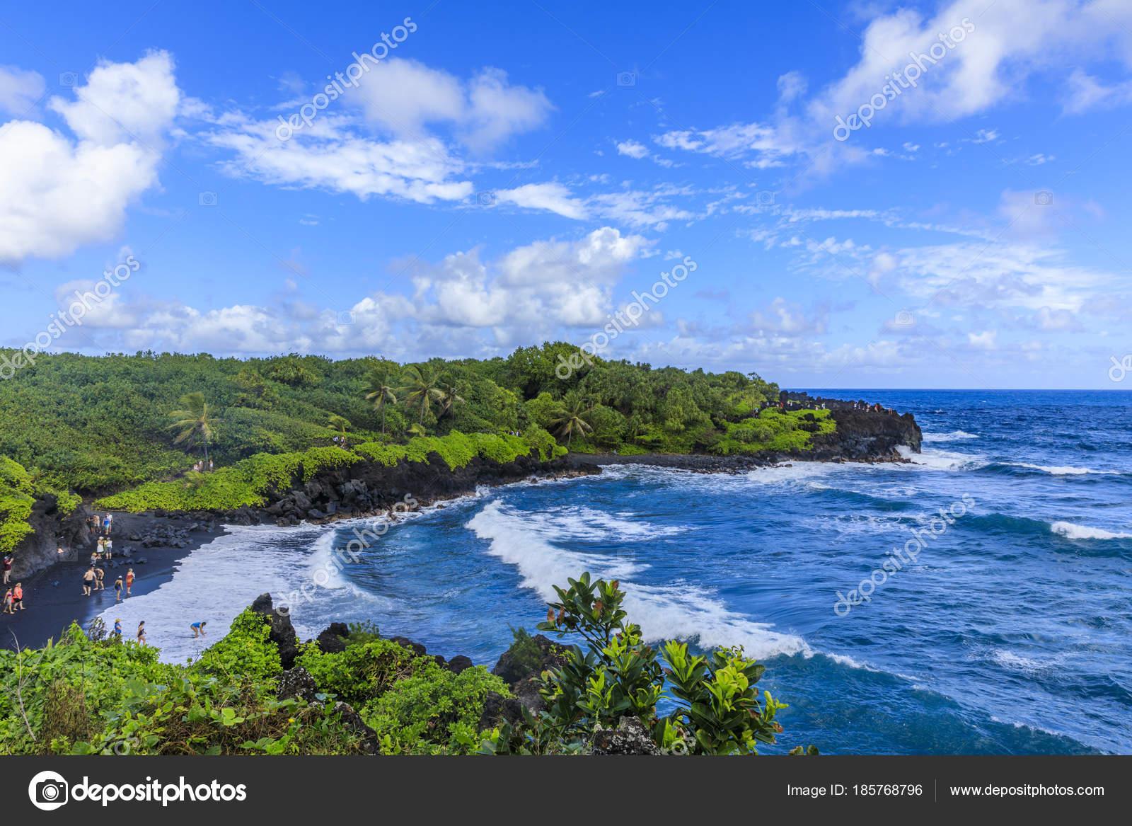 Black Sand Beach State Park Hana Road Maui Hawaii — Stock