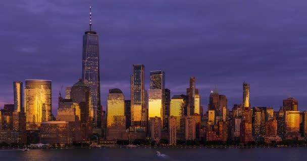 View to Manhattan skyline time lapse