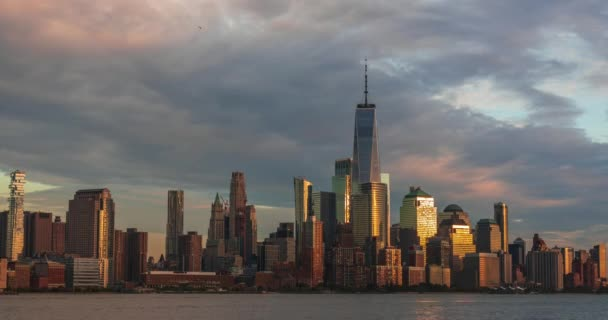 View to Manhattan skyline time lapse