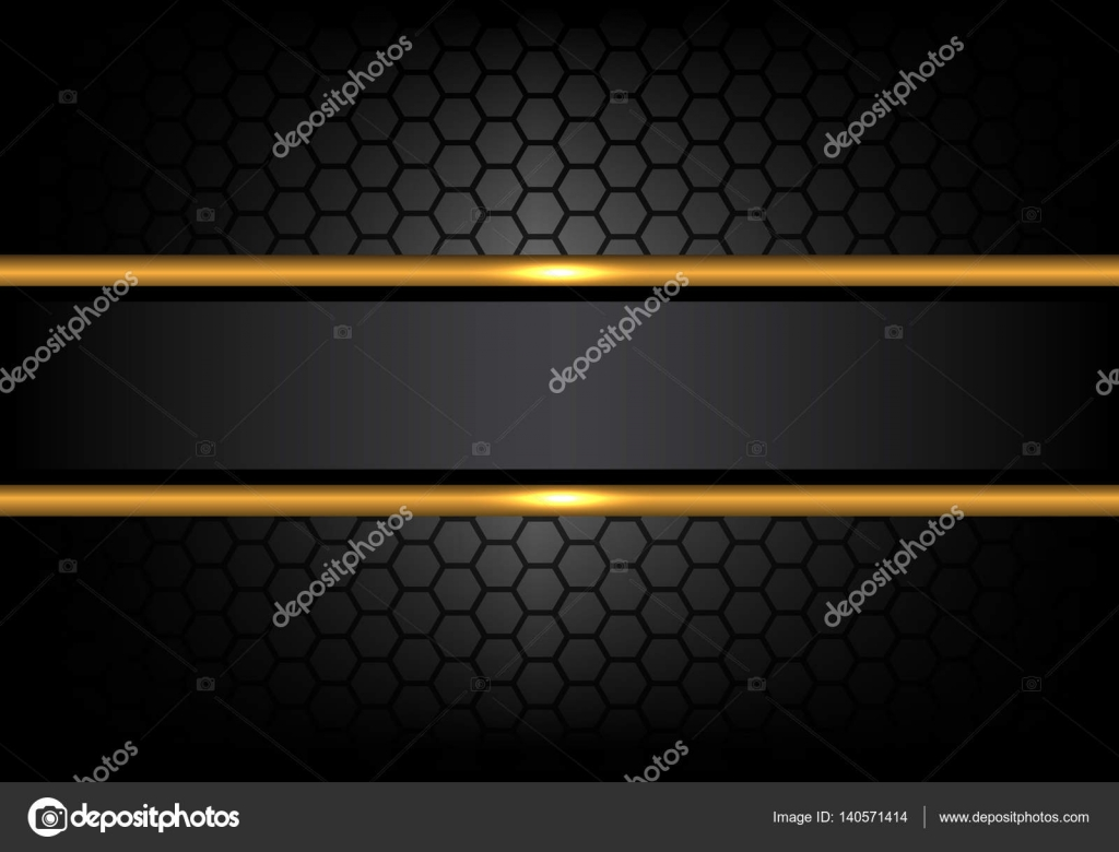 Abstract Black Gold Line Banner On Hexagon Mesh Pattern