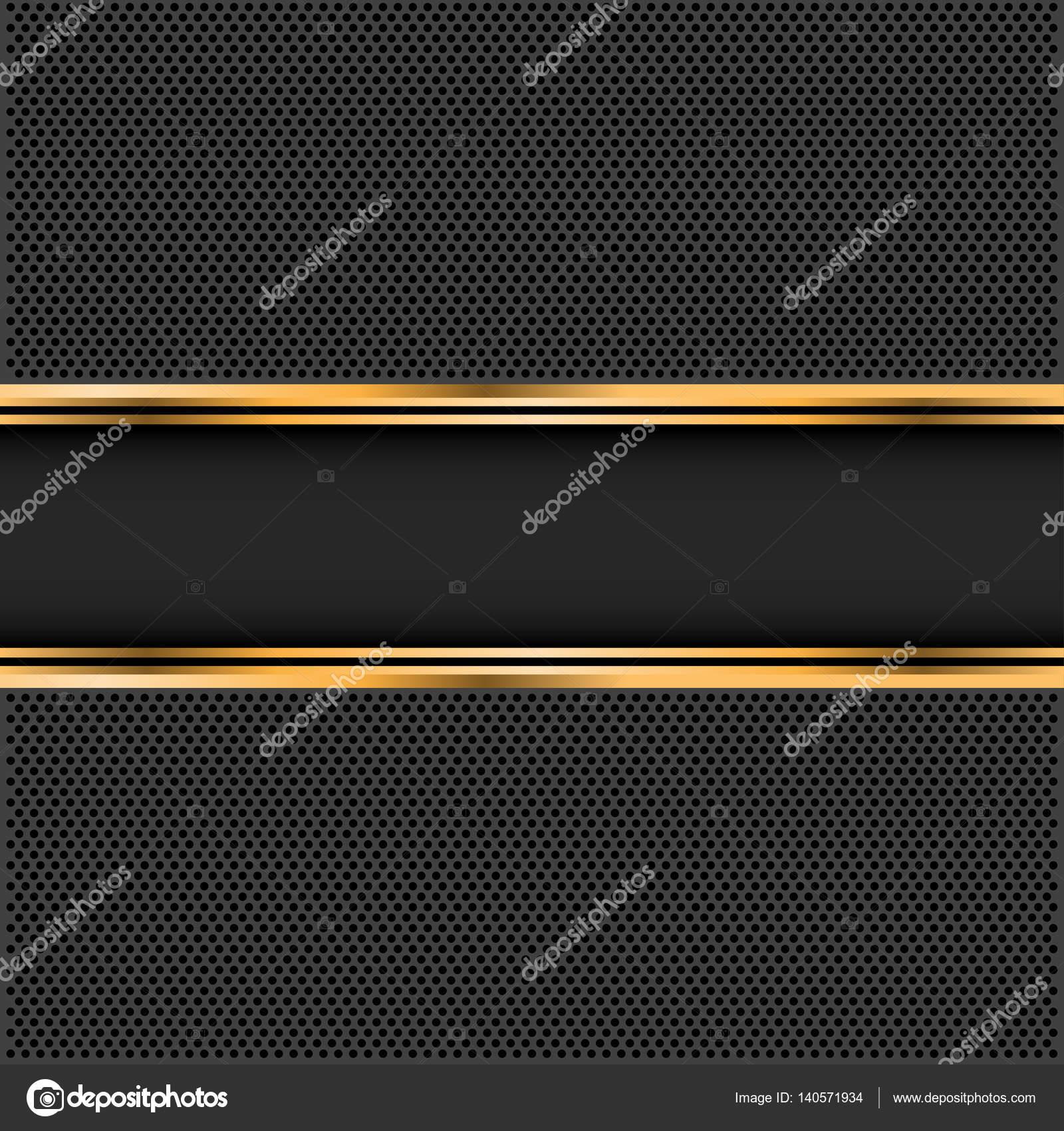 Abstract Black Gold Banner On Dark Gray Circle Mesh Design