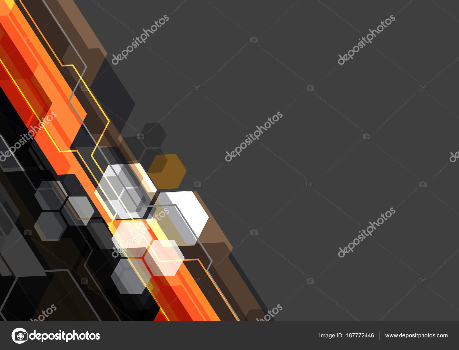 Abstract Orange Black White Polygon Technology Gray Blank