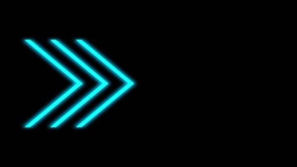 Abstract blue light neon arrow direction on black video illustration.
