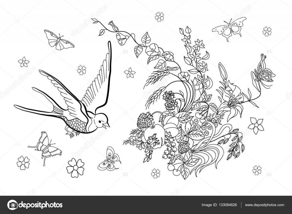 Página para colorear para adultos con flores, aves y mariposas ...