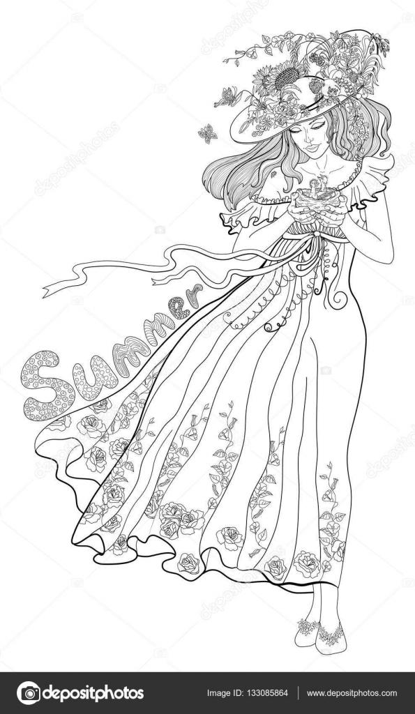 malvorlage mädchen mit blumenstraüß  coloring and malvorlagan