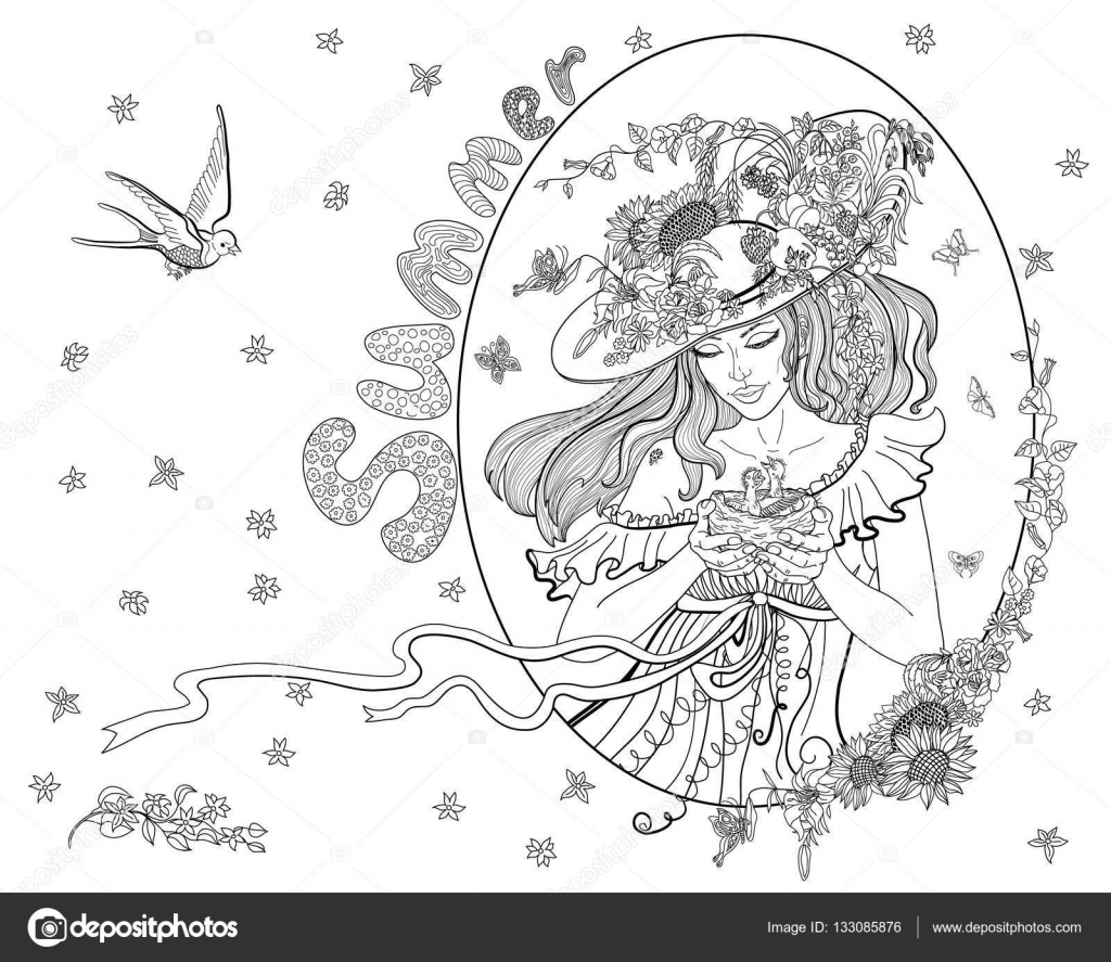 Página para colorear para adultos con niña de verano, flores ...