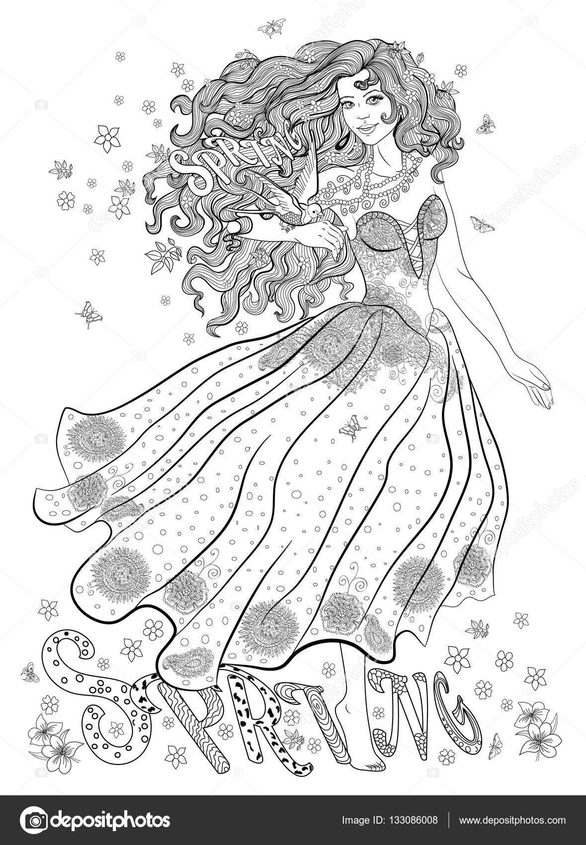 Página para colorear para adultos con niña-primavera, flores y aves ...