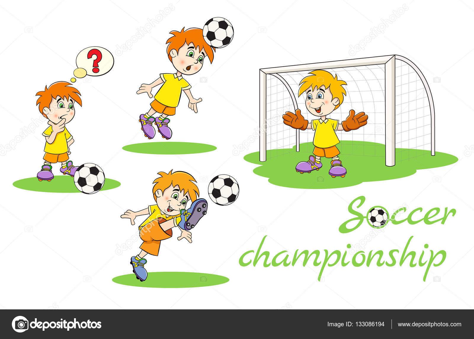 Komik Karikatür Futbol Oyuncular Set Stok Vektör Vitasunny
