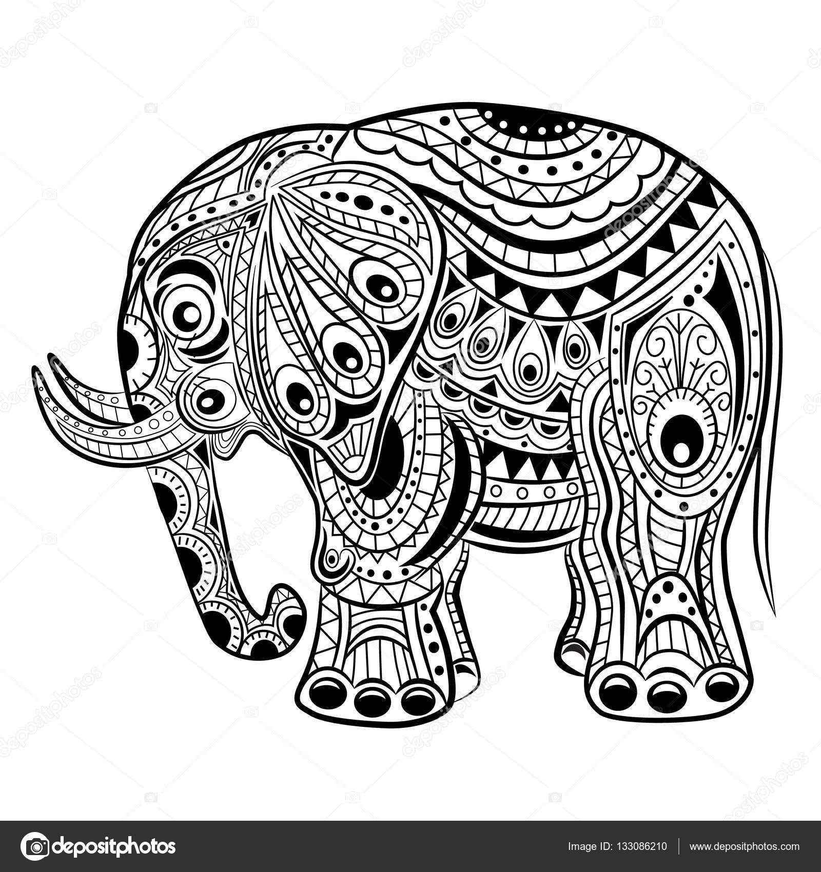 Hand drawn ink zentangle elephant for relax and meditation — Stock ...