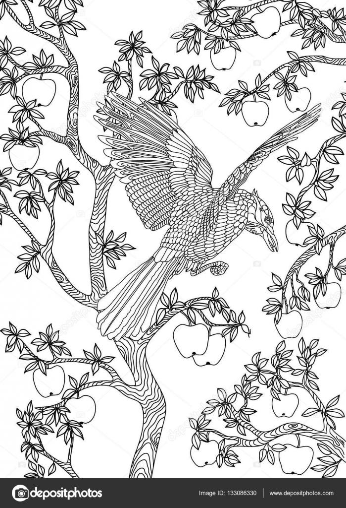 Elle çizilmiş Kuş Raven Bir şube Elma Ağacı üzerinde Stok Vektör