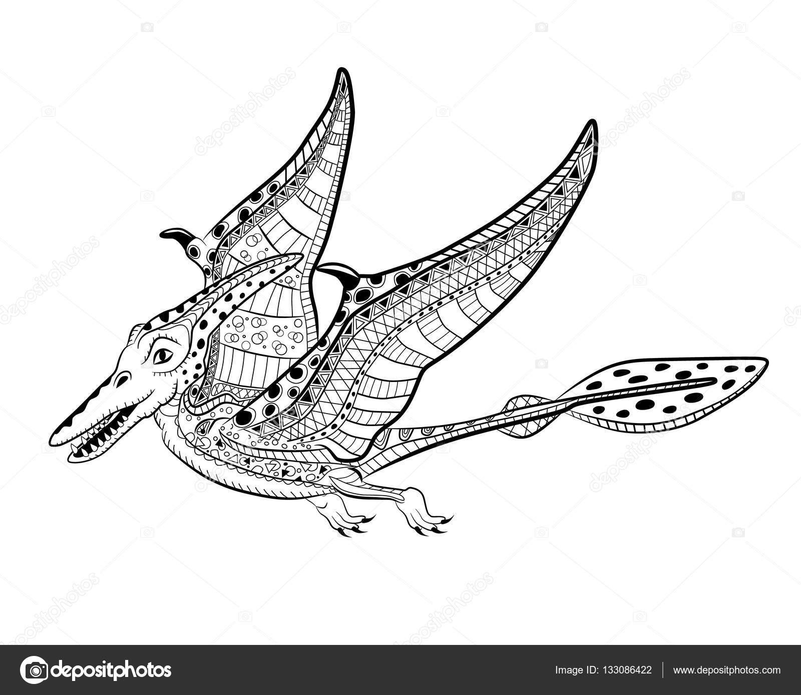 Pterodáctilo - monstruo prehistórico. Libro de colorear antiestrés ...