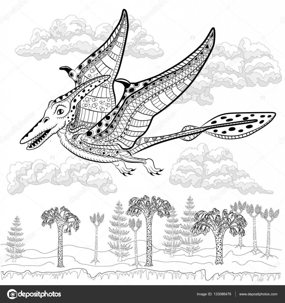 Pterodáctilo - monstruo prehistórico en la naturaleza. Antiestrés ...
