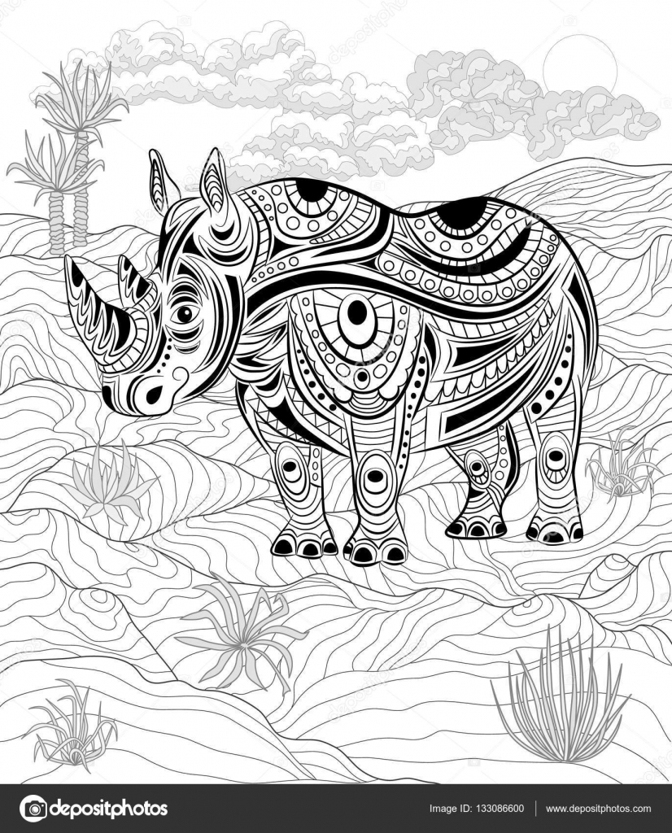 антистресс книжка раскраска носорог в природе векторное