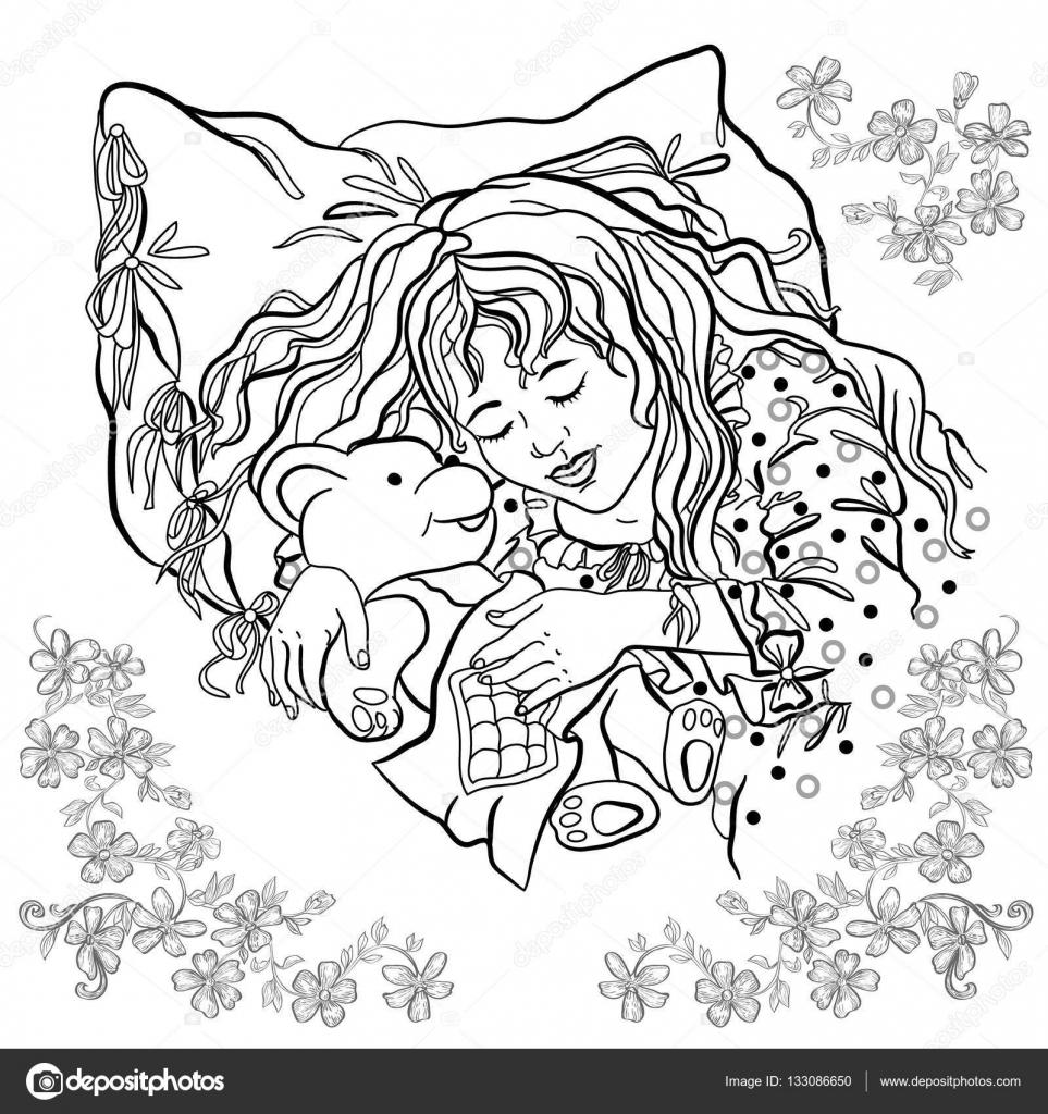 Niña durmiendo sobre una almohada. Libro para colorear — Archivo ...