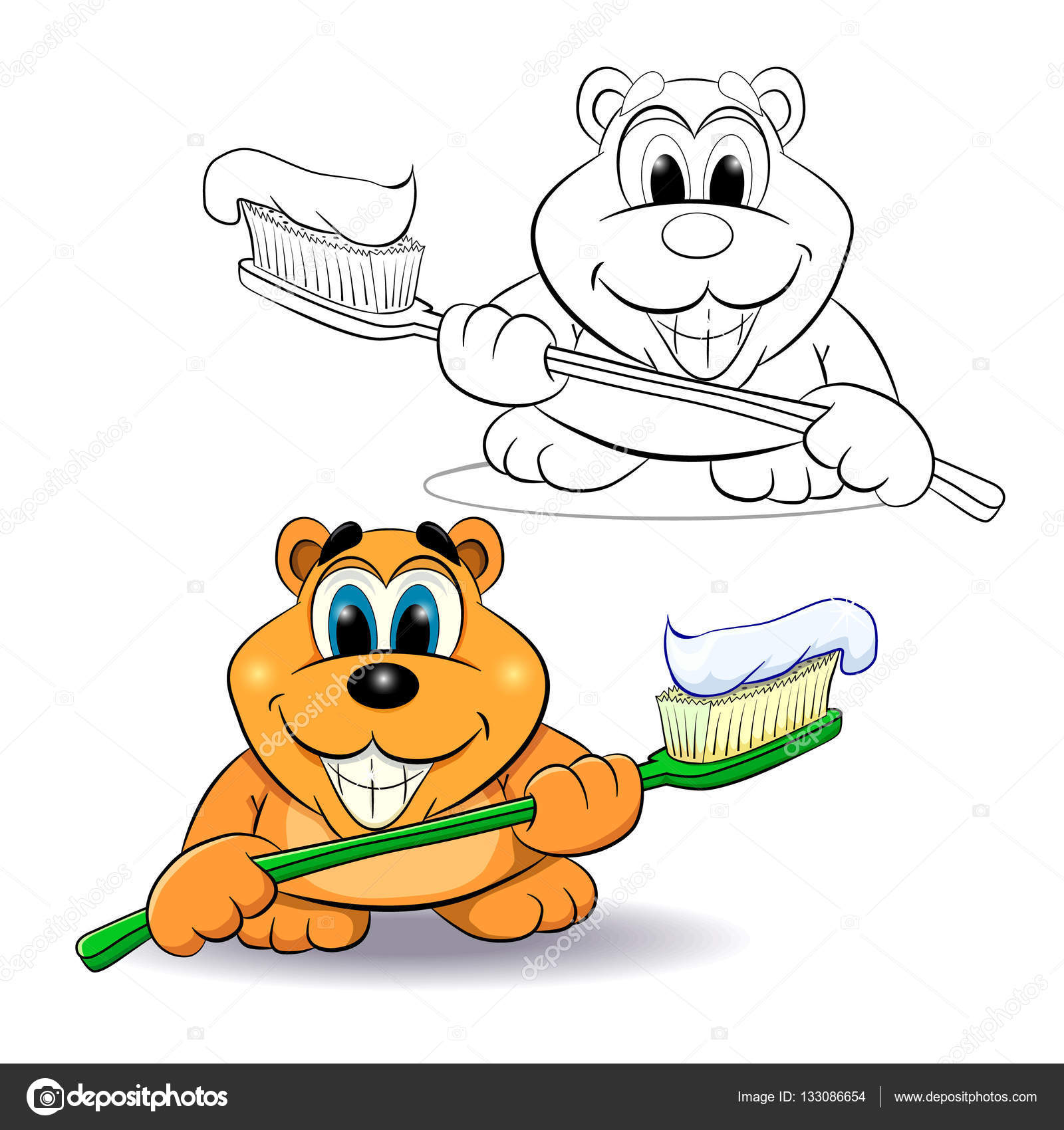 Lustige Comic-Bär mit einer Zahnbürste — Stockvektor © vitasunny ...