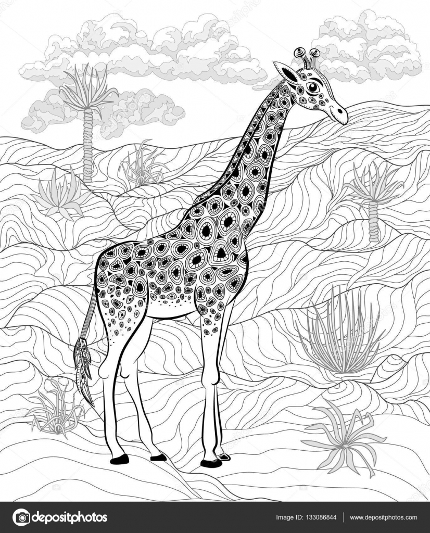 Antistress Boyama Kitabı Doğada Zürafa Stok Vektör Vitasunny
