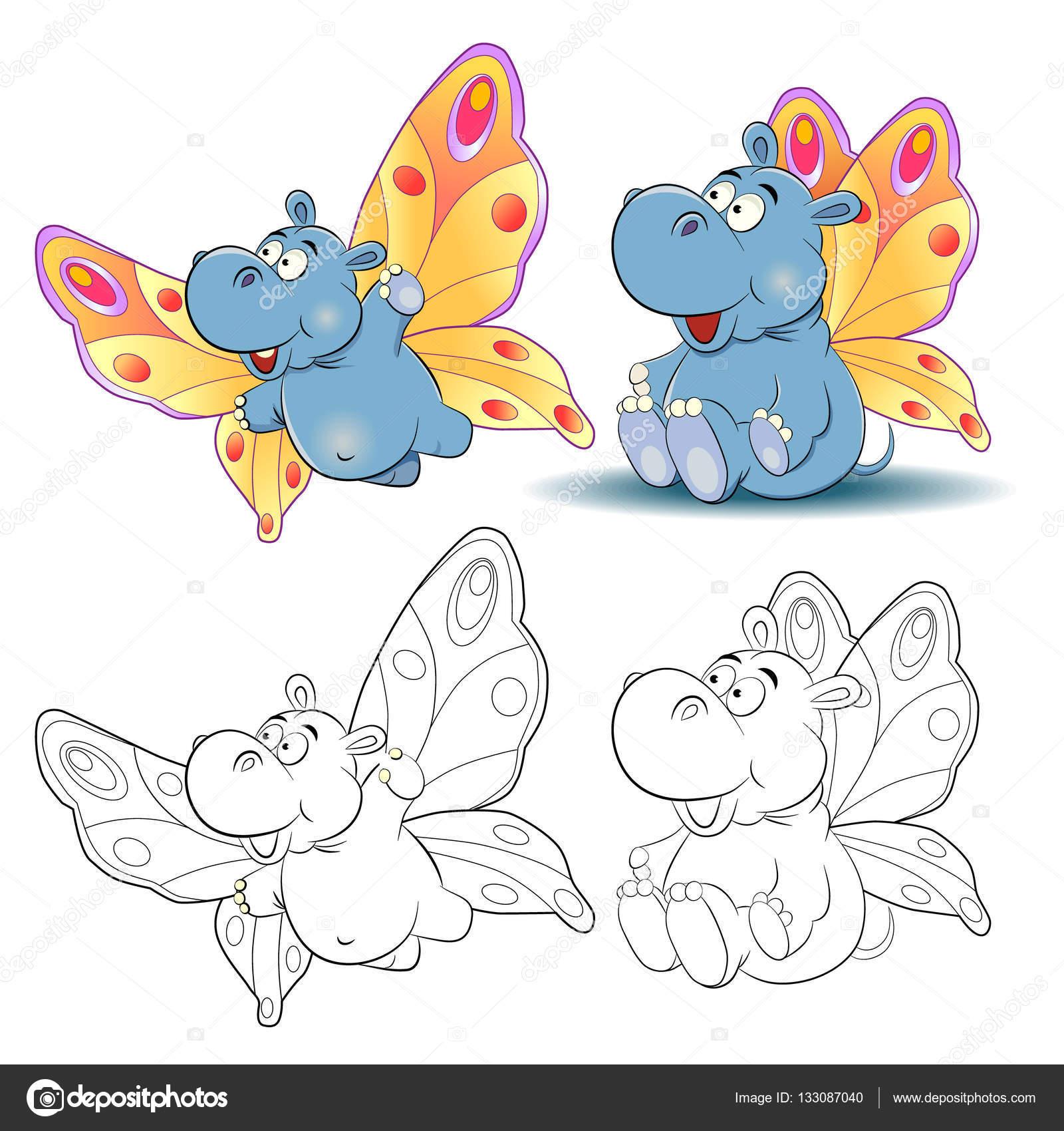 Gracioso hipopótamo caricatura de una mariposa. Libro para colorear ...