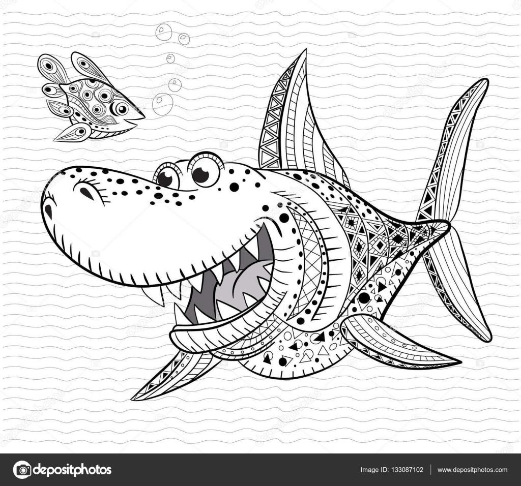 Livre De Coloriage Anti Stress Pour Adultes Et Enfants Requin Drôle