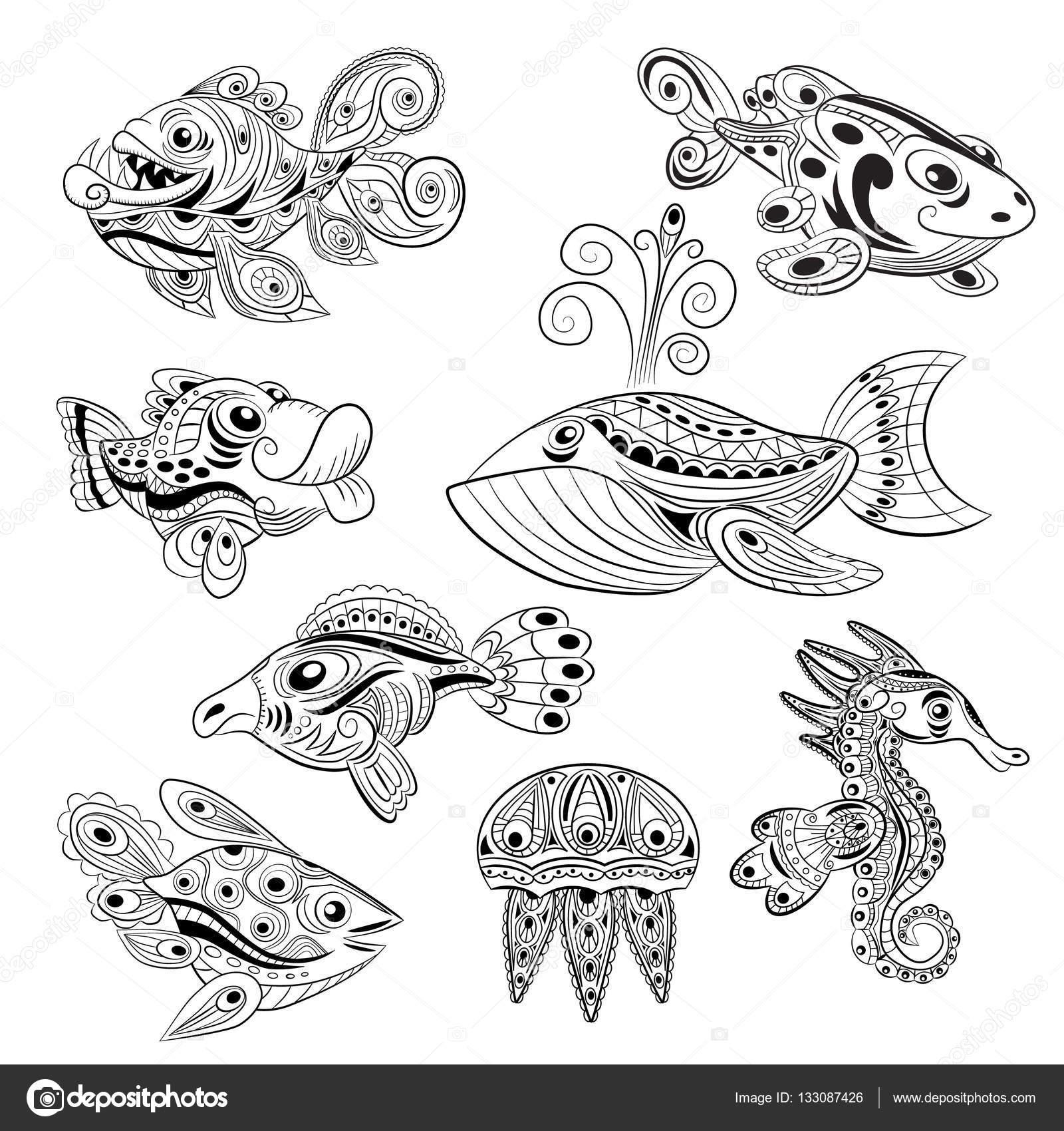 Handgezeichnete Tinte Zentangle set mit vielen Fischen für ...