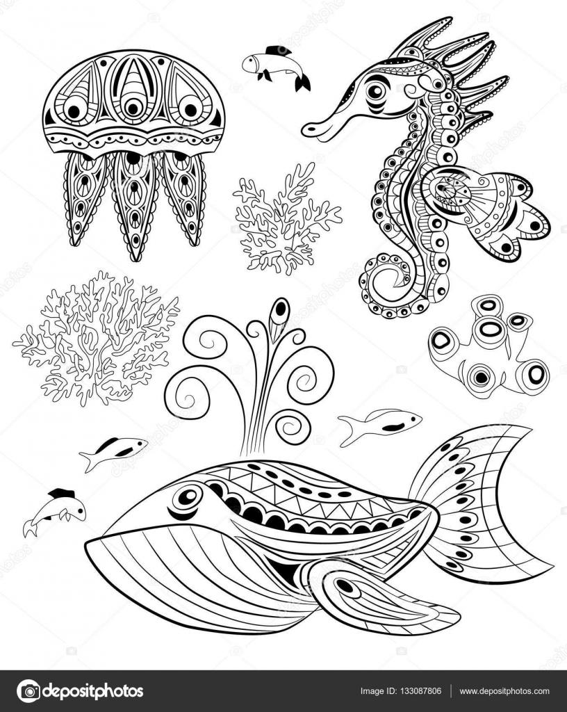 Insieme Degli Animali Del Mare Di Doodle Libro Da Colorare