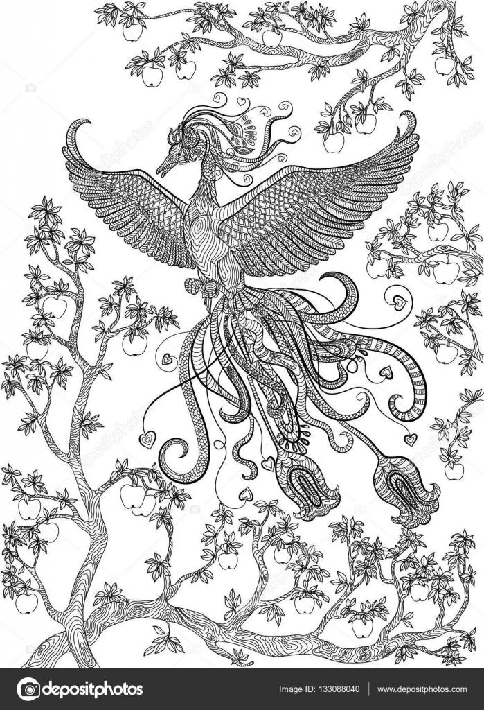 Elle çizilmiş Kuş Firebird Bir şube Elma Ağacı üzerinde Stok