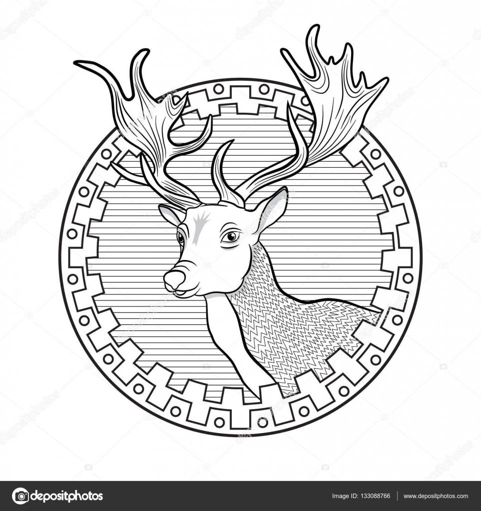 Cabeza de ciervo en la frontera étnica. Para colorear para adultos ...