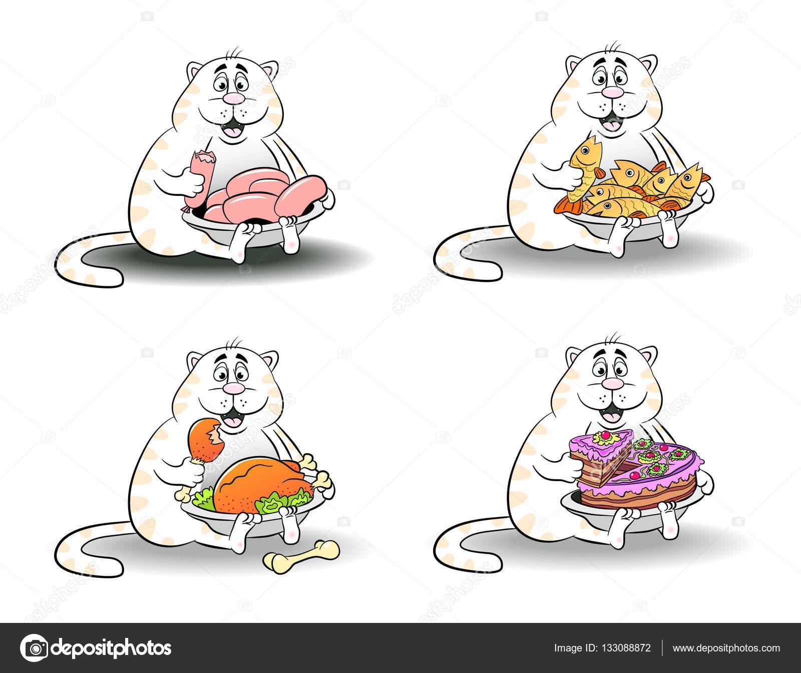 Dibujos animados gracioso gato come pescado, pollo, salchicha ...