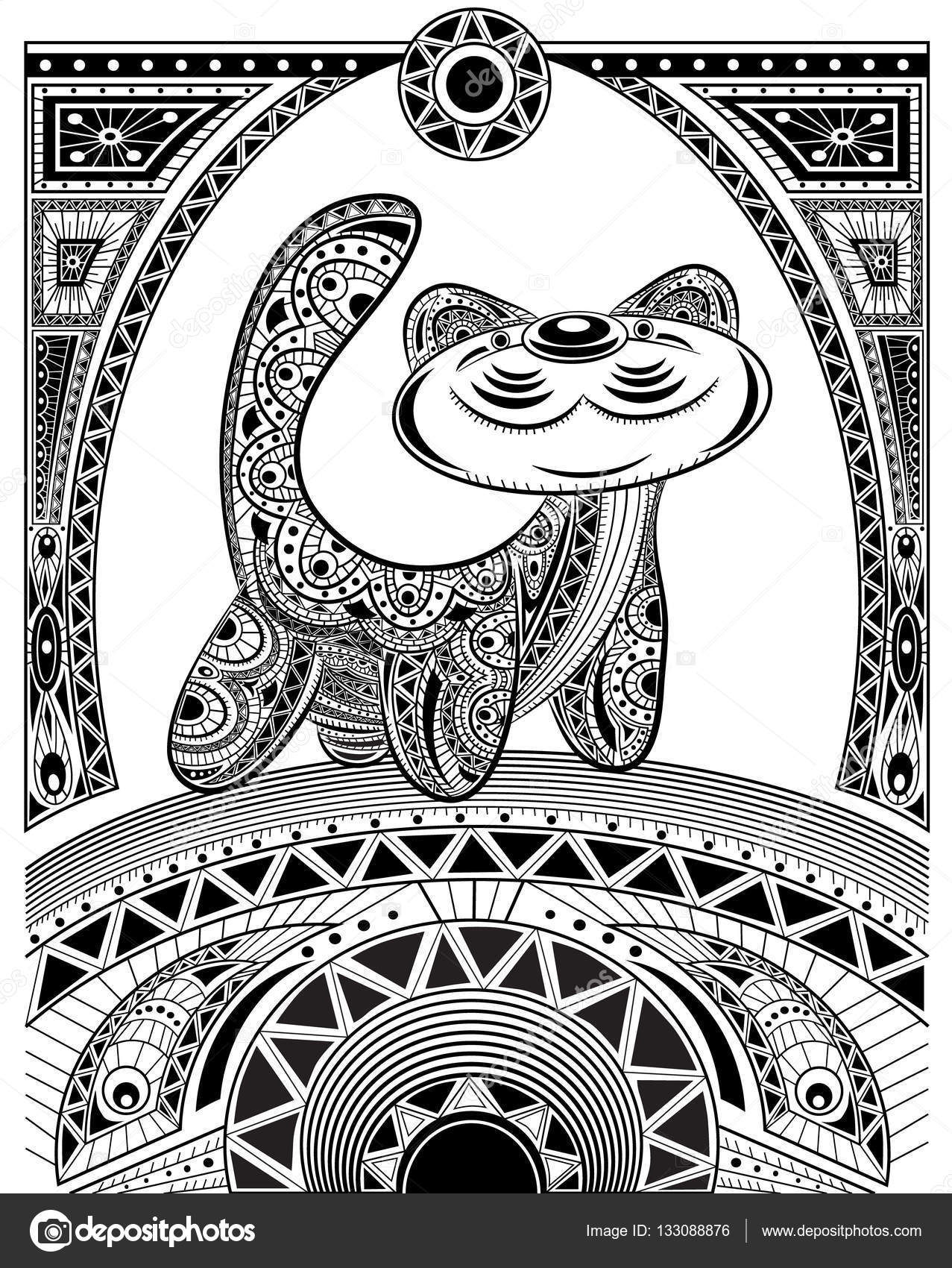 Stylized Vector Cat Zentangle Isolated For Relax And Meditation